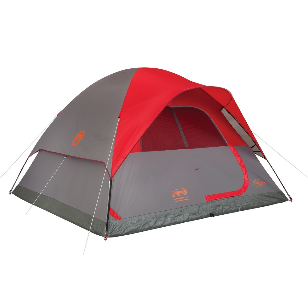 Image of Coleman Flatwoods II 6-Person Dome Tent - Gray/Red, Red Gray