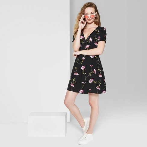 Women's Floral Print Short Sleeve V-Neck Button Front Mini Dress - Wild Fable™ Black - image 1 of 3