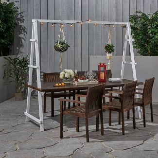 7pc Huckleberry Acacia Wood / Iron Planter Patio Dining Set Brown - Christopher Knight Home