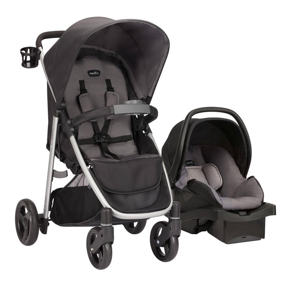 Evenflo FlipSide Travel System with LiteMax Infant Car Seat, Glenbarr Gray