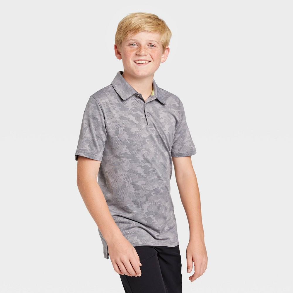 Image of Boys' Camo Print Golf Polo Shirt - All in Motion Gray L, Boy's, Size: Large