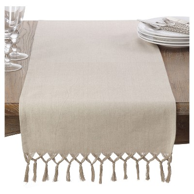 Light Brown Knotted Tassel Table Runner (16 x72 )- Saro Lifestyle®