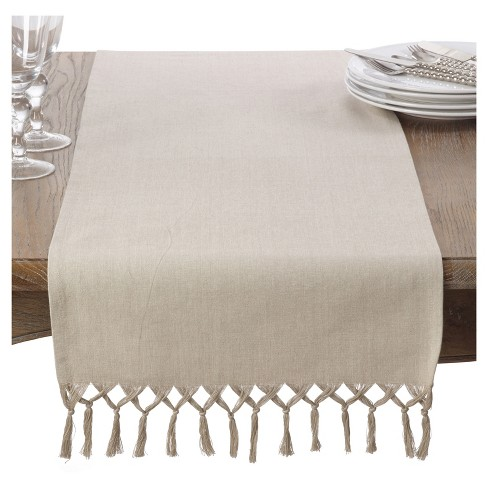 """16""""x72"""" Knotted Tassel Table Runner Light Brown - Saro Lifestyle - image 1 of 3"""
