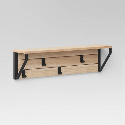 "24"" Functional Wall Shelf with Hooks Wood - Project 62™"