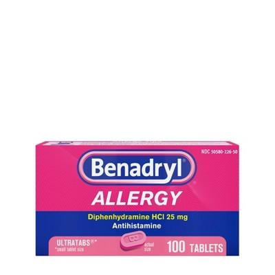 Benadryl Ultratab Allergy Relief Tablets - Diphenhydramine - 100ct
