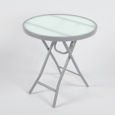 Folding Patio Accent Table Gray/Clear - Threshold™