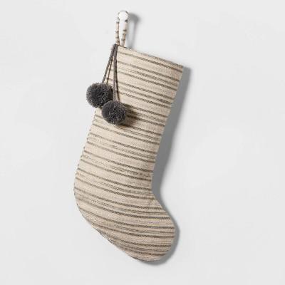 Woven Christmas Stocking Gray Stripe - Wondershop™