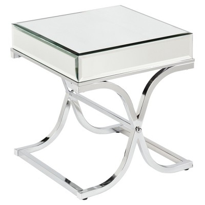 Lillian Mirrored End Table Chrome - Aiden Lane