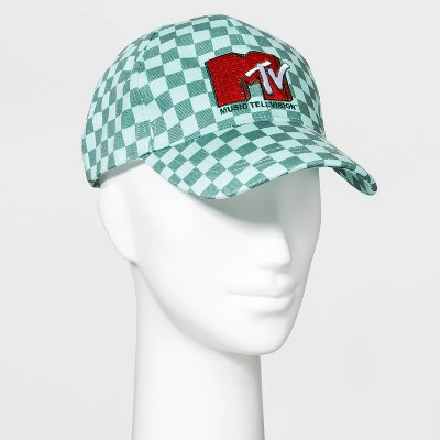 Women's MTV Checkered Print Baseball Hat - Green One Size