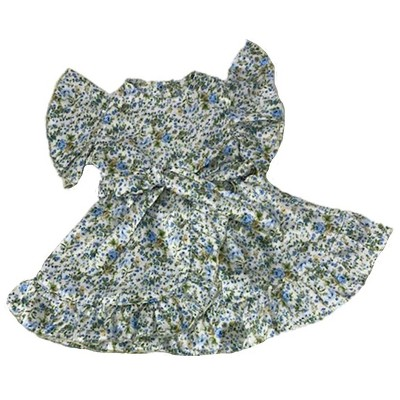 Doll Clothes Superstore Blue Flower Satin Dress Fits 15-16 Inch Baby Dolls