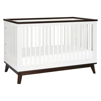 Babyletto Scoot 3-in-1 Convertible Crib with Toddler Rail - White/Walnut
