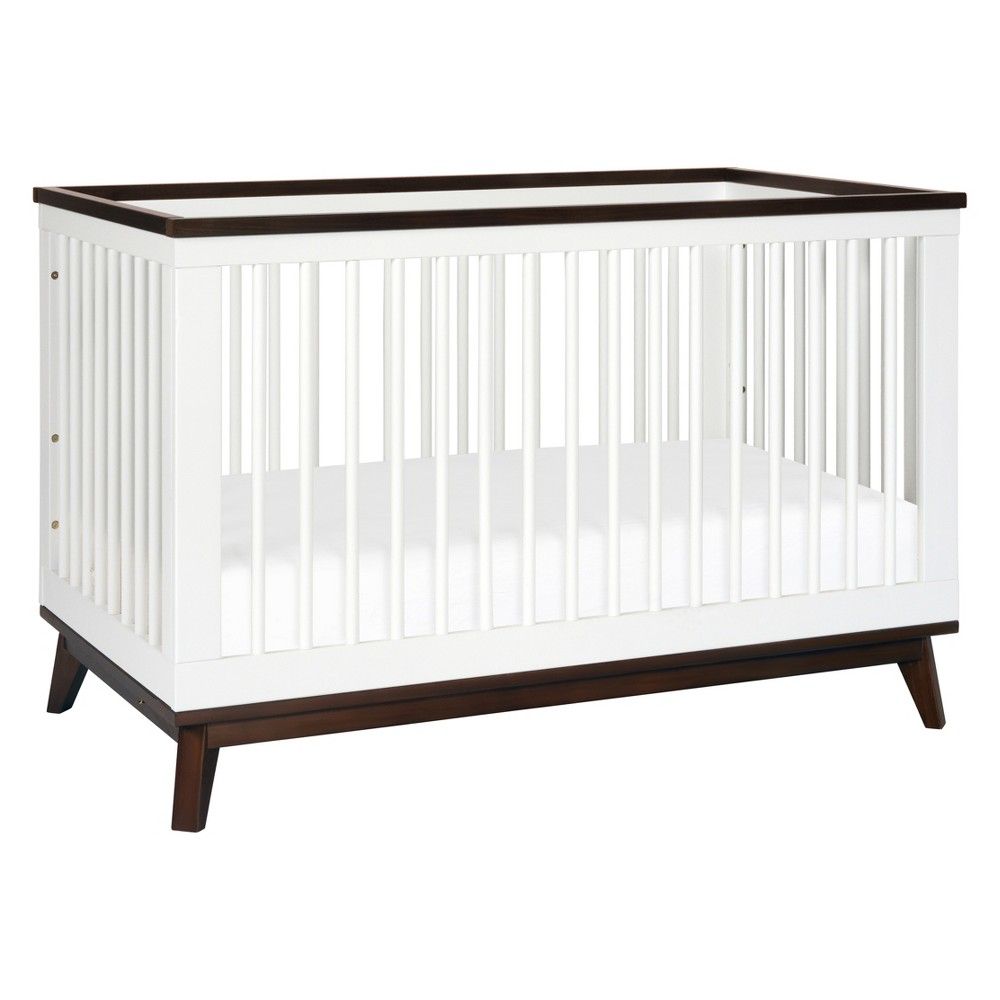 Babyletto Scoot 3-in-1 Convertible Crib with Toddler Rail - White/Walnut (White/Brown)