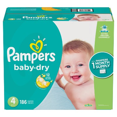 Pampers Baby Dry Disposable Diapers One Month Supply - Size 4 (186ct)