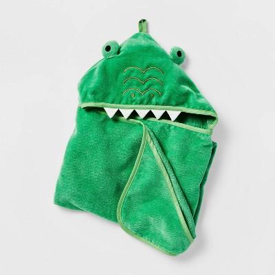 Alligator Hooded Bath Towel Green - Pillowfort™