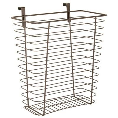 mDesign Hanging Over Cabinet Door Kitchen Storage Basket/Trash Can