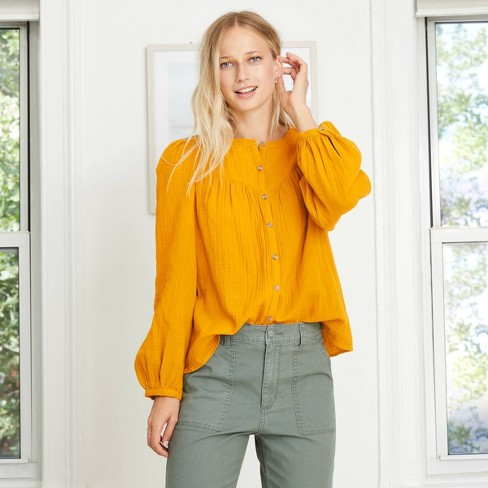 Women's Puff Long Sleeve Button-Front Blouse - Universal Thread™ - image 1 of 4