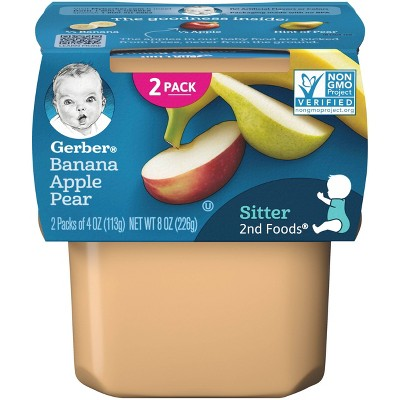 Gerber Sitter 2nd Foods Banana Apple Pear Baby Meals - 2ct/4oz Each