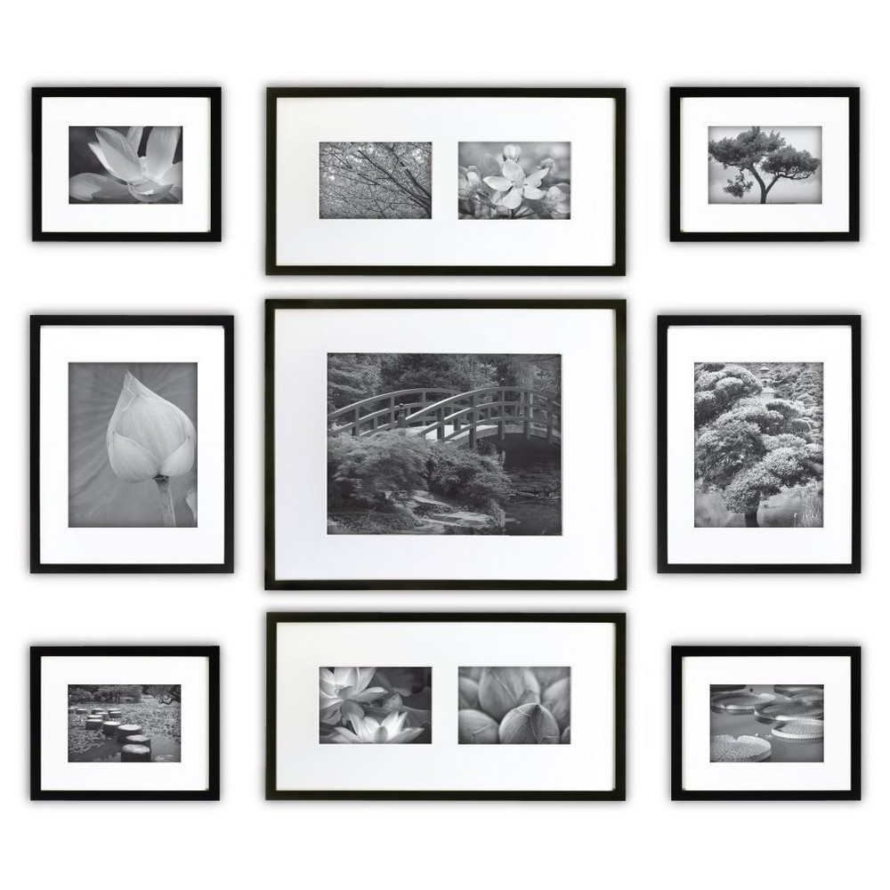 Image of Gallery Perfect 9 Piece Multi-Size Wall Frame Set - Black