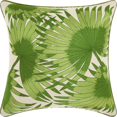 Green Palm Leaves Throw Pillow Green - Mina Victory