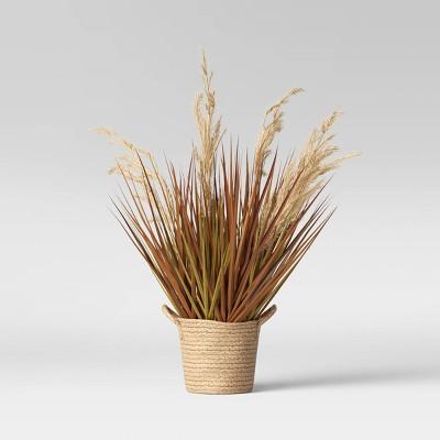 "24.5"" x 12"" Artificial Potted Grass in Basket Arrangement - Threshold™"