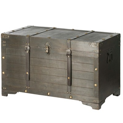 Vintiquewise Brown Large Wooden Storage Trunk with Lockable Latch
