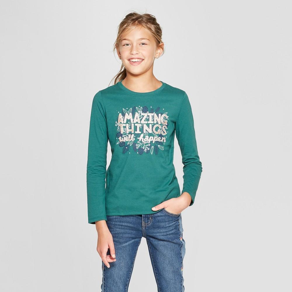 Girls' Long Sleeve Amazing Things Graphic T-Shirt - Cat & Jack Green XS