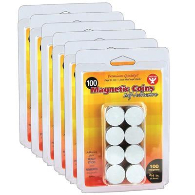 "Hygloss Self-Adhesive Magnetic Coins 3/4"" Black 100 Per Pack 6 Packs HYG61400-6"