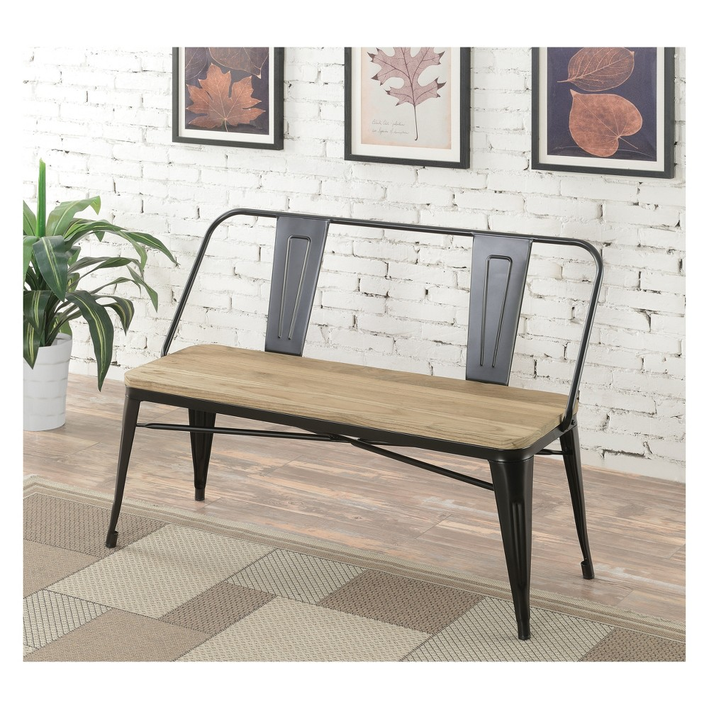 Clarkson Industrial Inspired Dining Bench Black - Homes: Inside + Out
