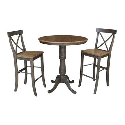 """36"""" James Round Extension Dining Table with 2 X Back Stools - International Concepts"""