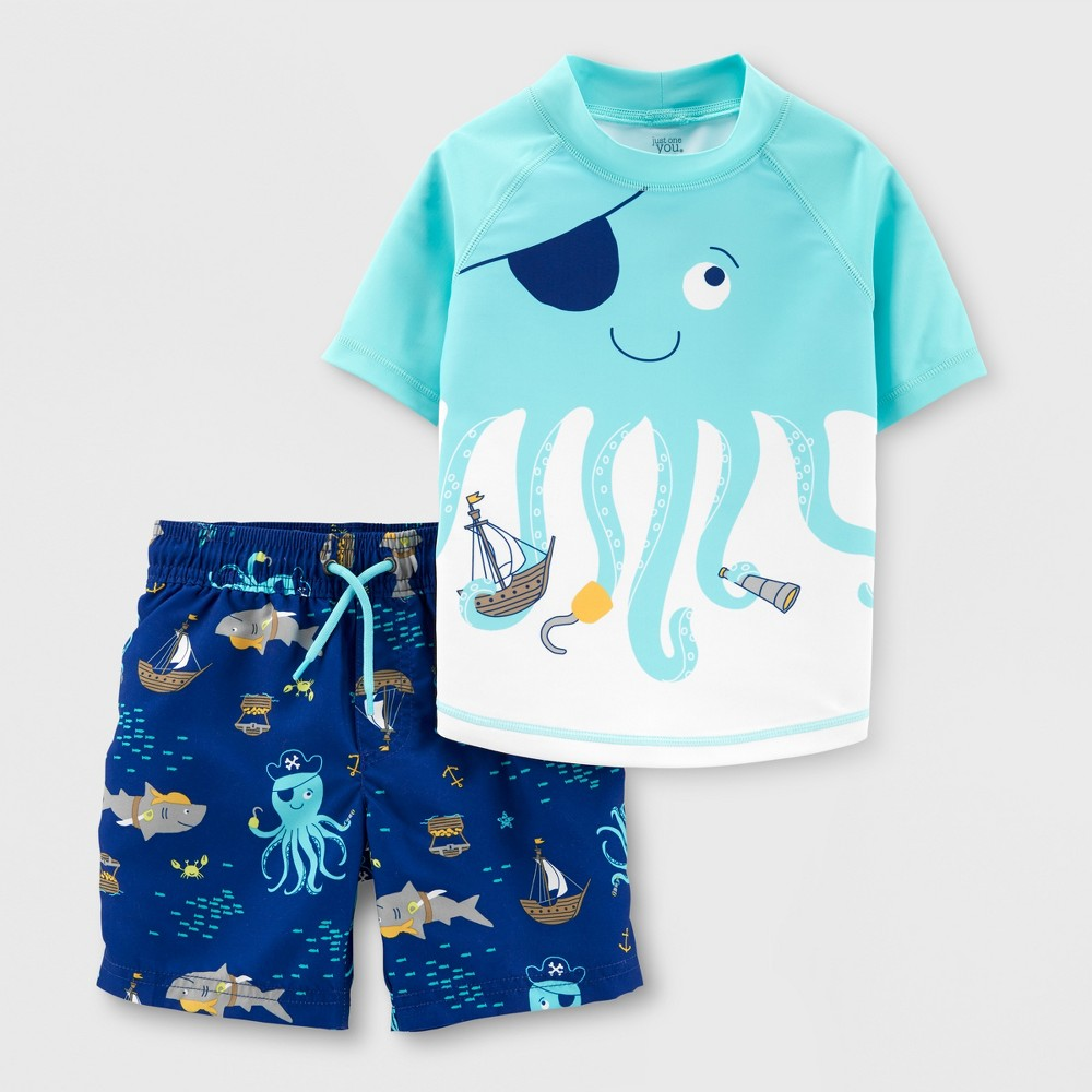 Toddler Boys' 2pc Octopus Rash Guard Set - Just One You made by carter's Blue 2T