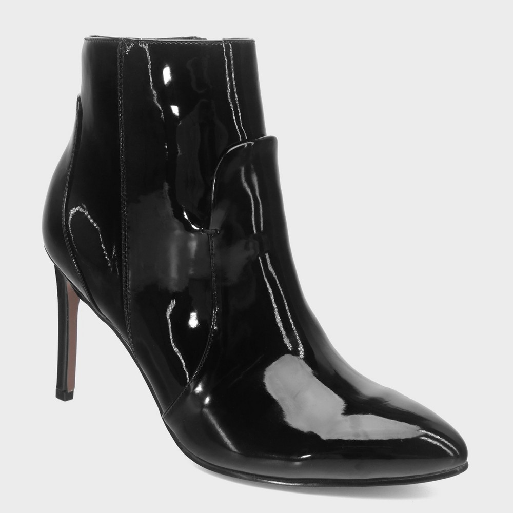 Women's Rebekah Patent Pointed Heeled Fashion Bootie - Who What Wear Black 8.5