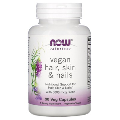 Now Foods Solutions, Vegan Hair, Skin & Nails, 90 Veg Capsules, Dietary Supplements