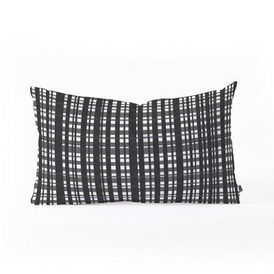 """14""""x23"""" Oversize Lisa Argyropoulos Holiday Plaid Modern Coordinate Lumbar Throw Pillow Black/White - Deny Designs"""