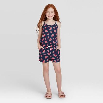 Girls' Watermelon Print Knit Romper - Cat & Jack™ Navy/Blue M