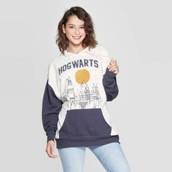 Women's Harry Potter Hogwarts Hooded Sweatshirt (Juniors') - Cream/Blue