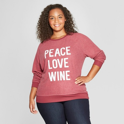 d1d5664b34 Women s Plus Size Peace Love Wine Graphic Pullover Sweatshirt - Grayson  Threads Wine
