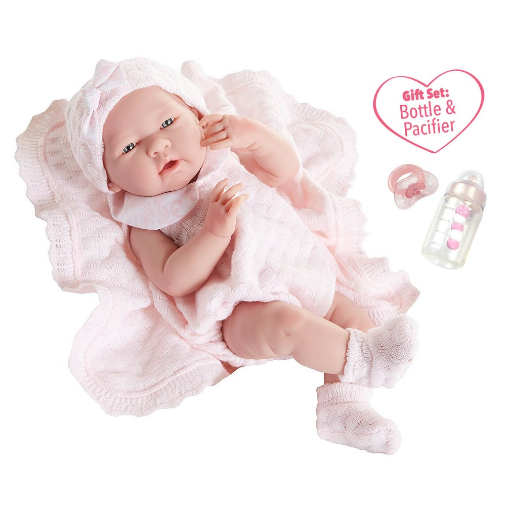 JC Toys La Newborn 15 All Vinyl Anatomically Correct Real Girl - Pretty in Pink Knit Blanket Gift Set. Made in Spain