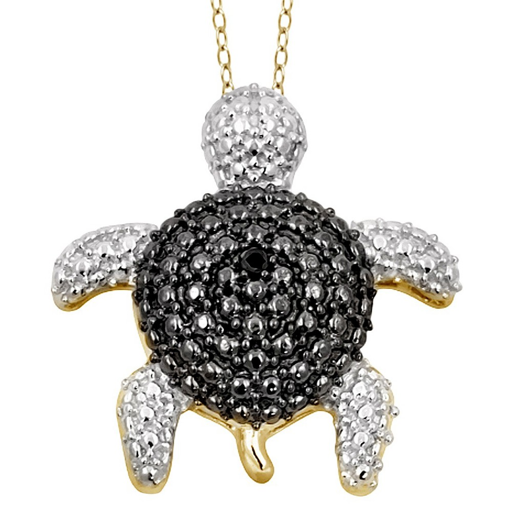 Women's Sterling Silver Accent Round-Cut Black Diamond Pave Set Turtle Pendant - Yellow (18)