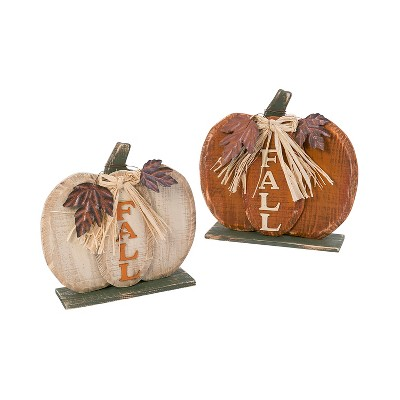 Gerson International S/2 Assorted Wooden Tabletop Fall Pumpkin Décor