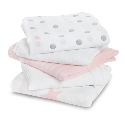 Aden® by Aden + Anais® Muslin Squares Baby Blankets - Doll - 5pk - Light Pink
