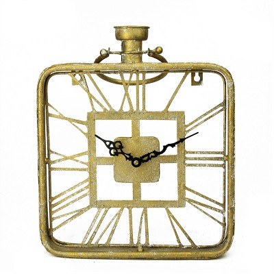 "Raz Imports 17.25"" Gold Antique Style Roman Numeral Wall Clock"