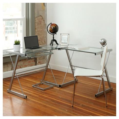 L Shaped Glass Corner Computer Desk Saracina Home