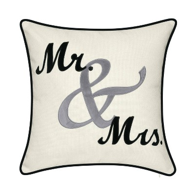 """17""""x17"""" Celebrations Mr. & Mrs. Cursive Embroidered Applique Square Throw Pillow Oyster - Edie@Home"""