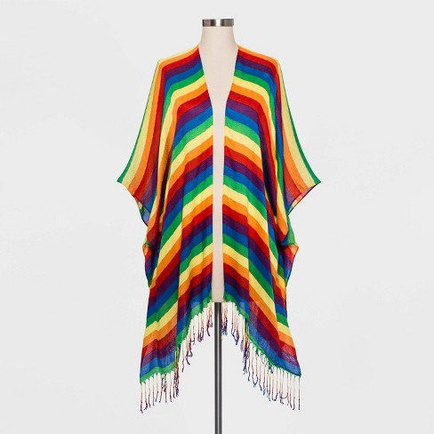 Pride Adult Striped Gender Inclusive Ruana - Rainbow One Size - image 1 of 1