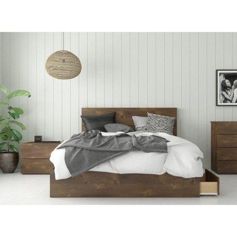 Queen 3pc Rubicon Platform Bed Set Truffle - Nexera - image 1 of 4