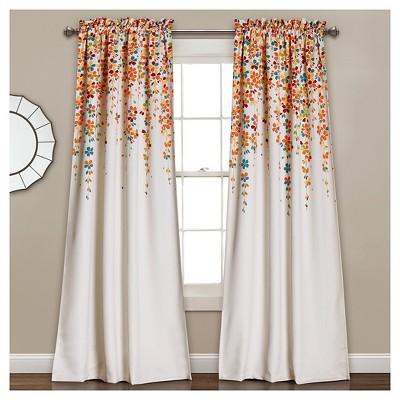 Weeping Flowers Room Darkening Window Curtain Set Turquoise & Tangerine (52 x84 )- Lush Décor