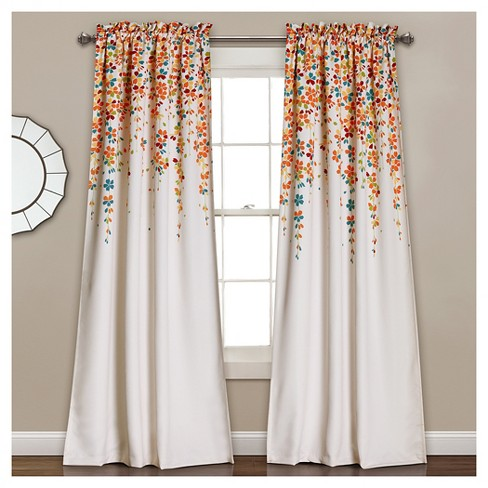 Weeping Flowers Room Darkening Window Curtain Set - Lush Dcor - image 1 of 4