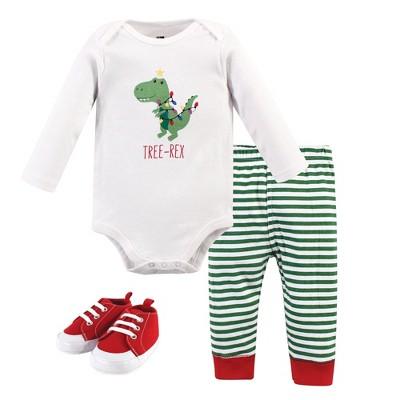 Hudson Baby Infant Boy Cotton Bodysuit, Pant and Shoe 3pc Set, Tree Rex