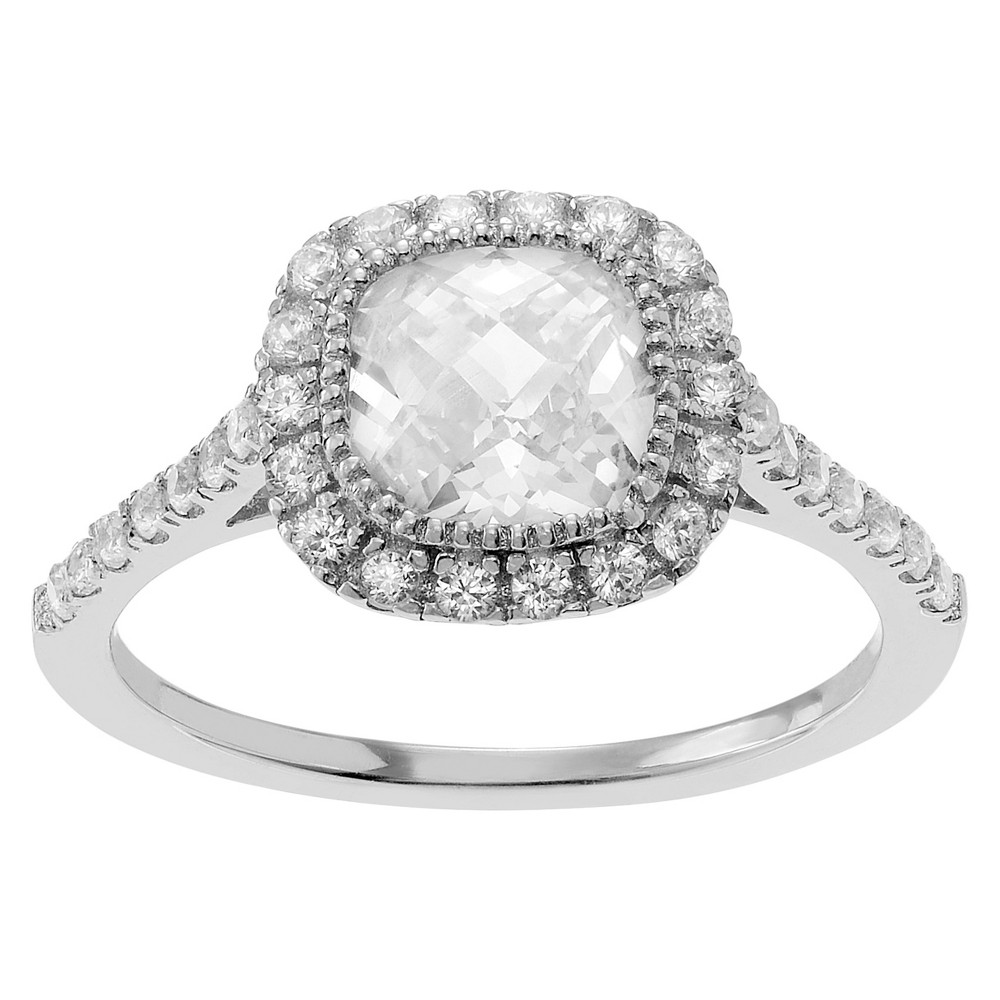 1 CT. T.W. Cushion-cut Cubic Zirconia Halo Engagement Bezel Set Ring in Sterling Silver - Silver, 5