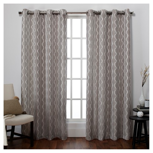 Baroque Textured Linen Look Jacquard Window Curtain Panel Pair - Exclusive Home® - image 1 of 2